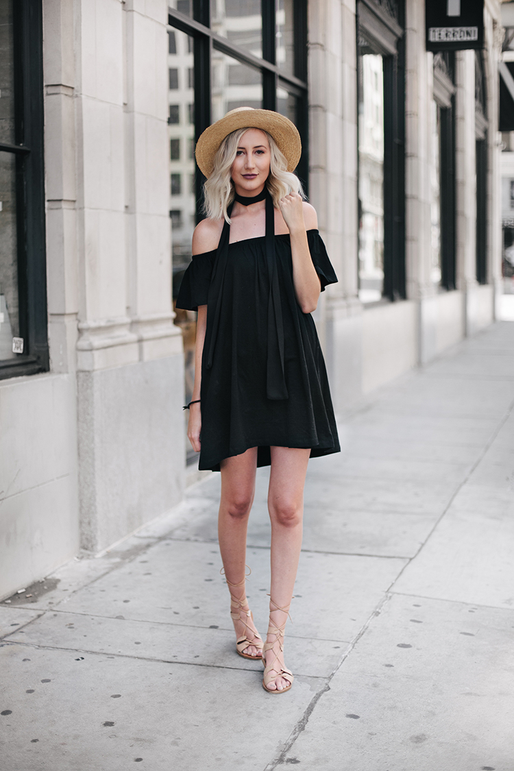 Carly Cristman wearing Asos Black Off-the-Shoulder Dress