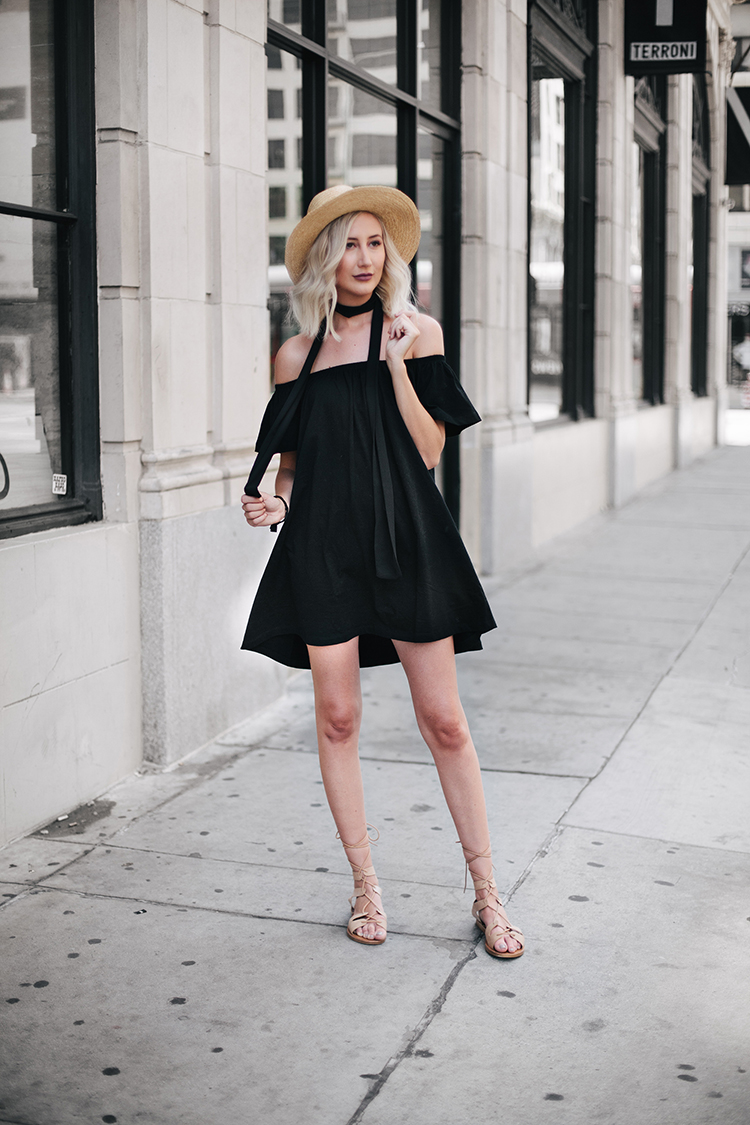 Carly Cristman wearing Asos Black Off-the-Shoulder Dress and Windsor lace up sandals