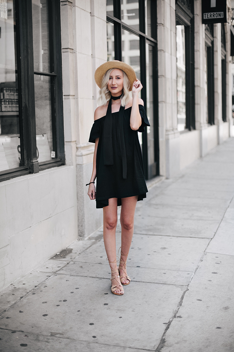 Carly Cristman - How To Style Asos Black Off-the-Shoulder Dress