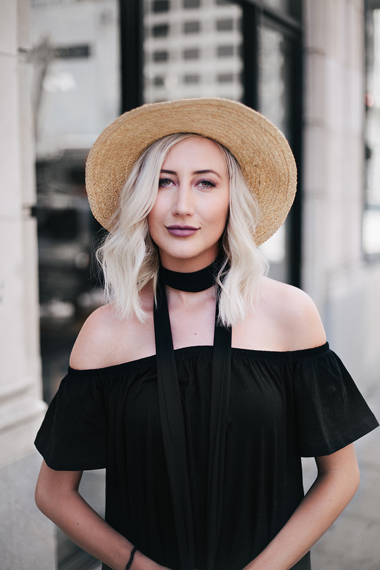Carly Cristman wearing Asos Black Off-the-Shoulder Dress and Straw Hat with black choker