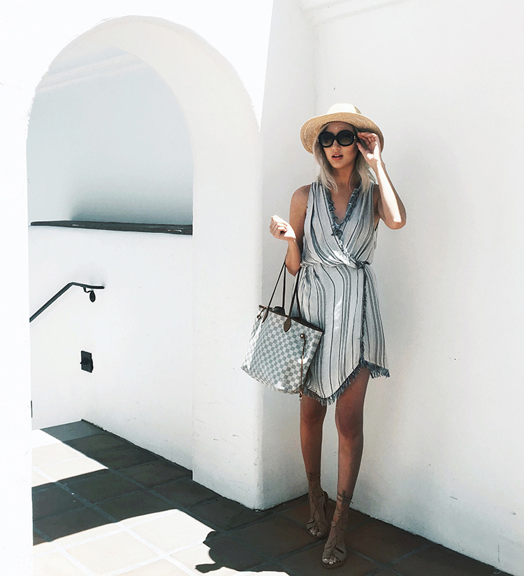 Summer Staples That Are Simple and Stylish - Carly Cristman wearing The Jetset Diaries Las Rayas dress