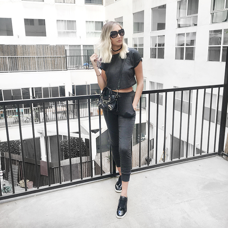 Lazy Day Outfit Windsor crop top set balenciaga city bag tom ford sunglasses