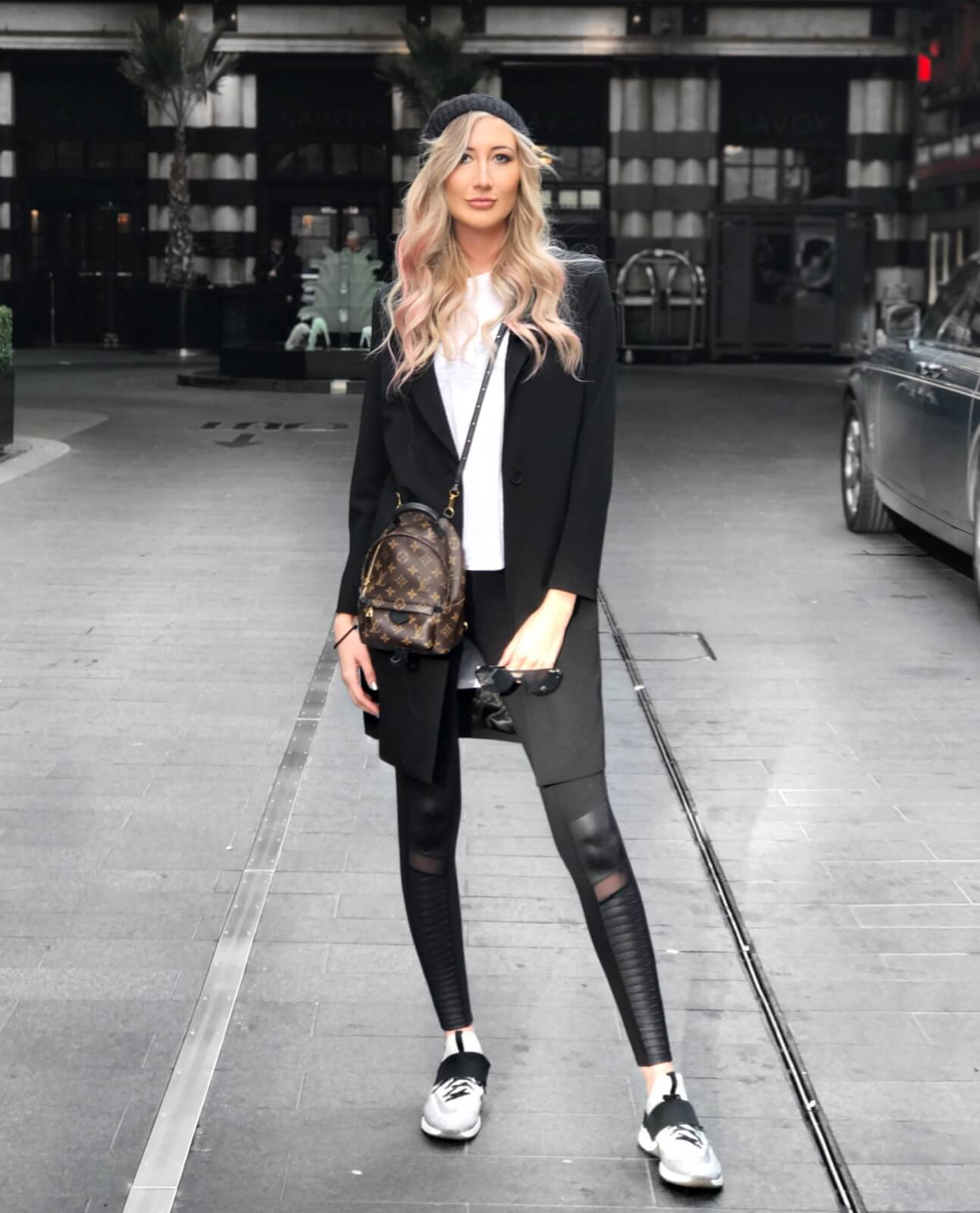 Carly Cristman - How To Dress for Business Casual - Easy Business Casual Look - dRA Grace Blazer Coat, Black Alo Leggings, Nike Air Zoom