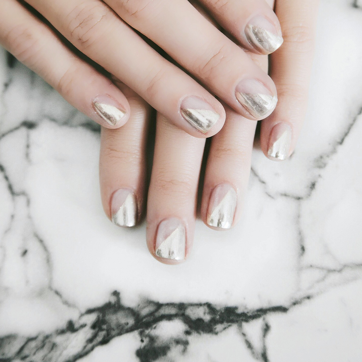 Carly Cristman - angled chrome manicure - easy nail art - metallic nails - metallic nail art