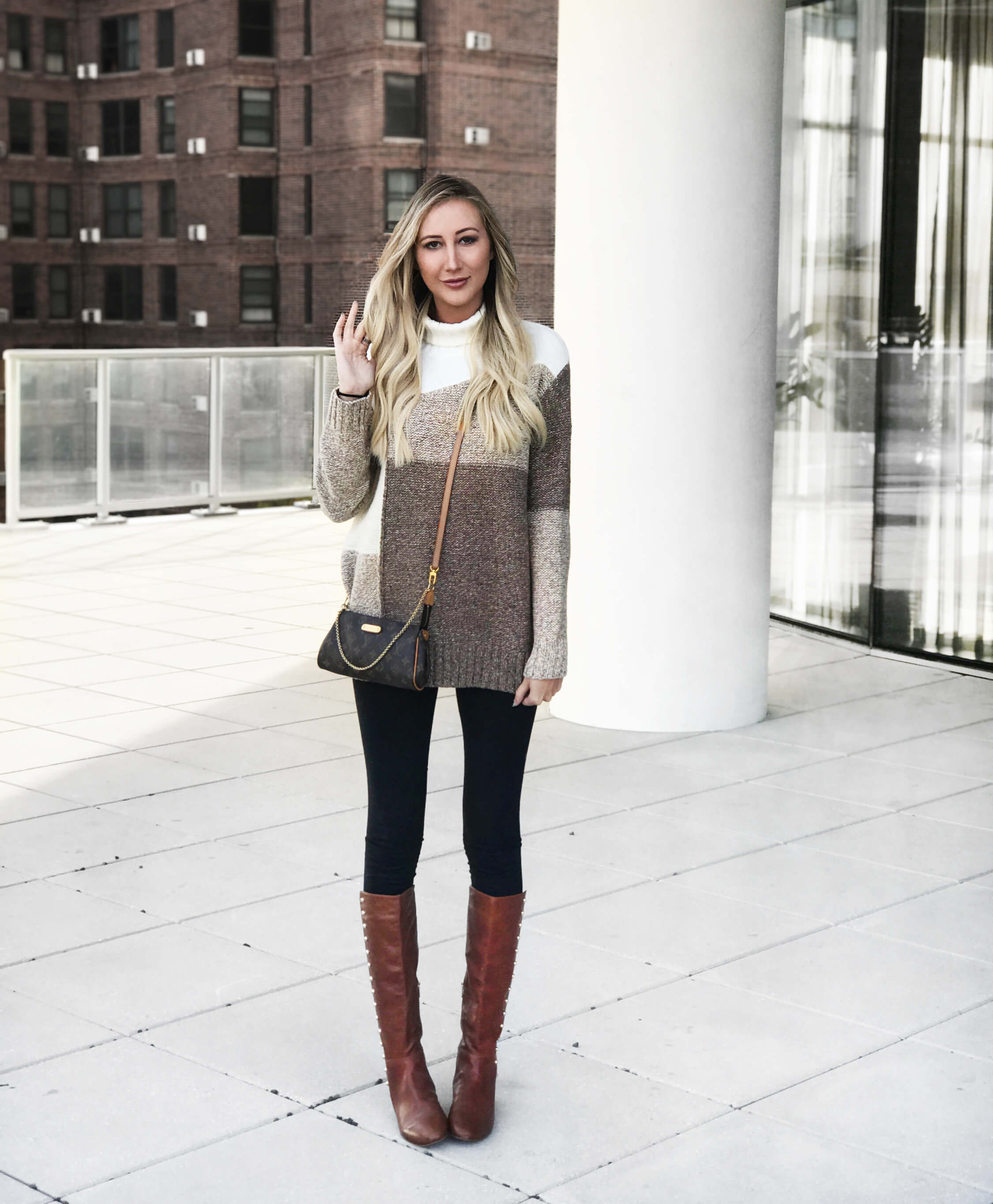 fall wardrobe essentials, colorblock sweater, patchwork sweater, neutral tone sweater, brown boots, knee high boots