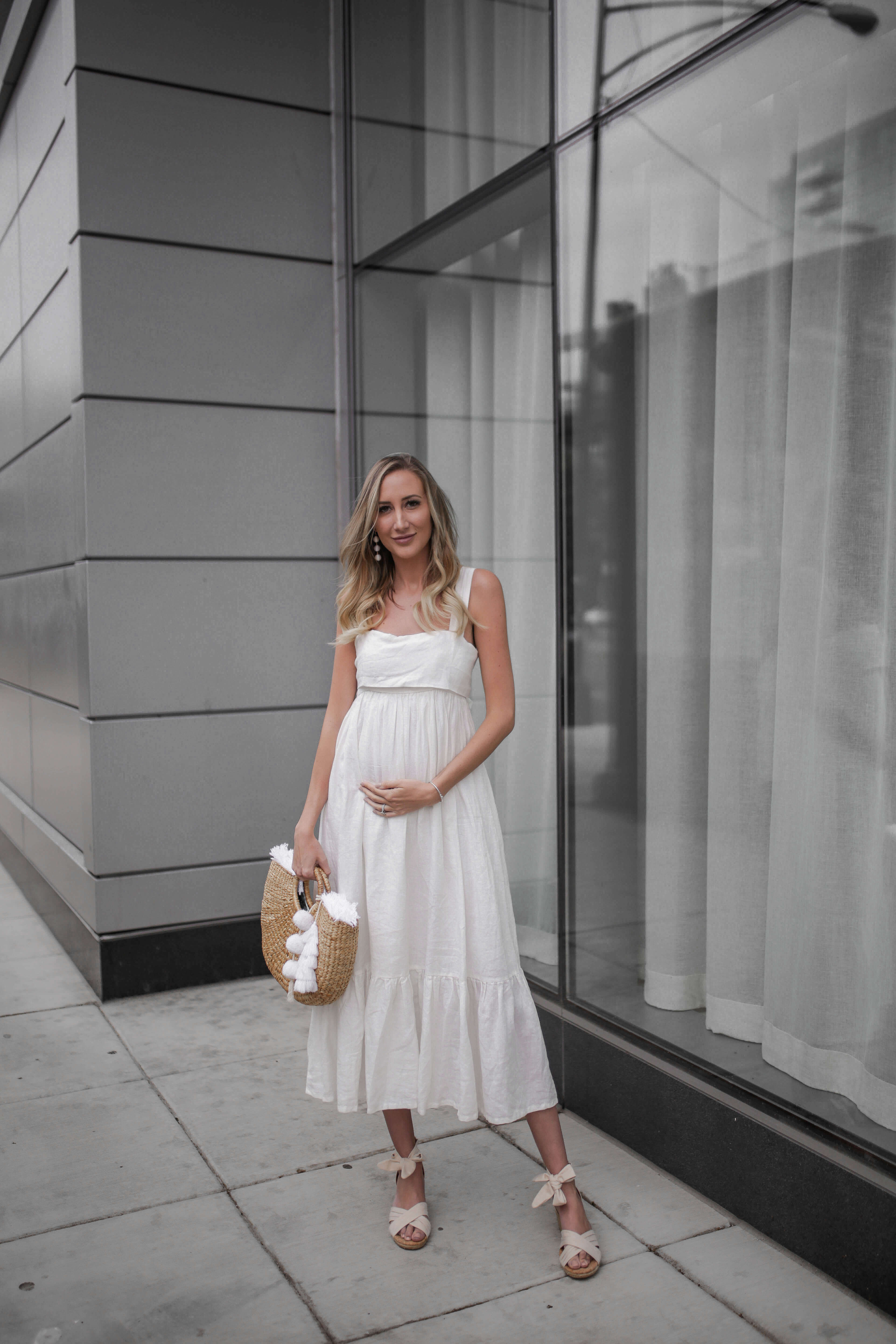 Carly Cristman wearing a summer white linen dress with wedges, Summer Trends 2018, CAARA Forget Me Not Linen Midi Dress, UGG Traci Espadrille Wedge Sandal, basket bag