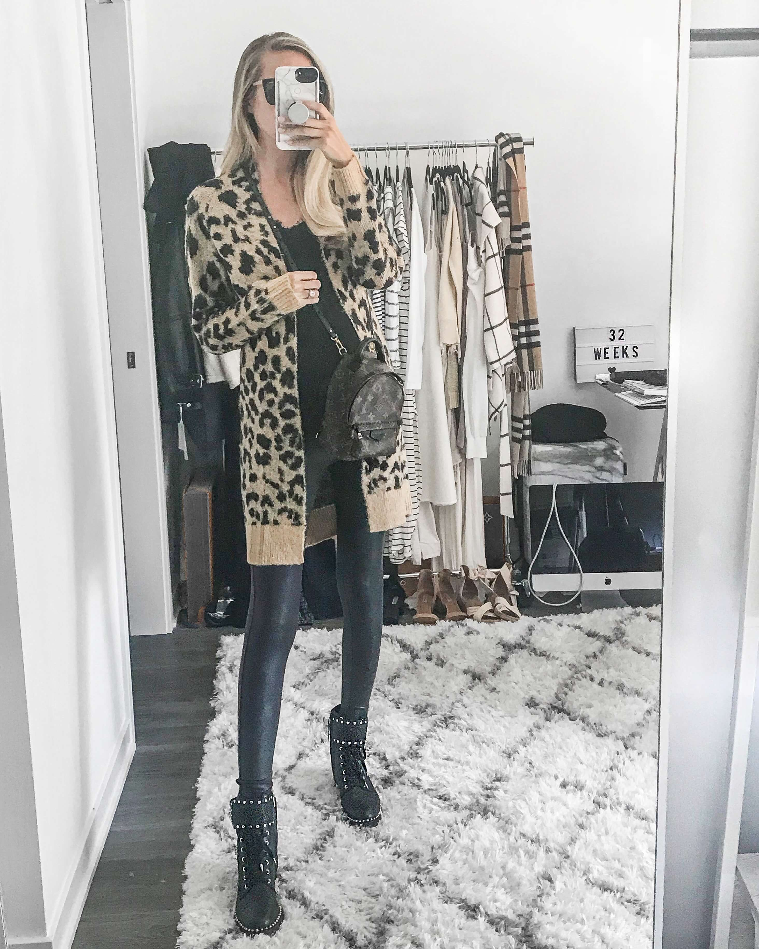 Carly Cristman wearing a long leopard print cardigan from Nordstrom with Sam Edelman combat boots, fall wardrobe staples